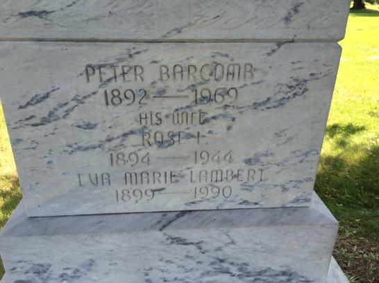 Pete & Rose Barcomb, Eva Lambert is Rose's sister, not Pete's wife.